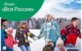 """Описание услуги """"Вся Россия"""" от Мегафона"""